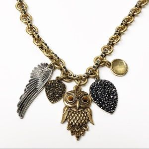 Lucky Brand Crystal Owl Mixed Metal Charm Necklace